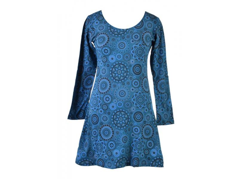 Krátké petrolejové šaty s potiskem Mandal a dlouhým rukávem, kulatý výstřih