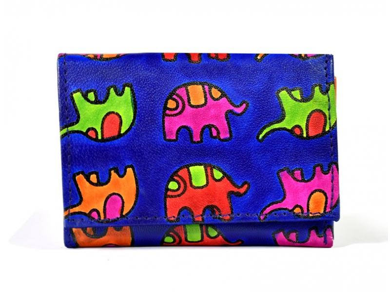 """Malá kožená peněženka """"All elephants"""", fialovo-černá, ručně malovaná, 11x9cm"""