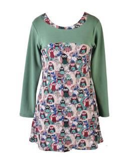 Krátké zelené šaty s dlouhým rukávem, design sovy