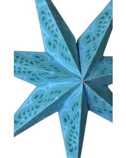 """Tyrkysový papírový lampion hvězda """"Psychedelic"""", 7 cípů, 60cm"""