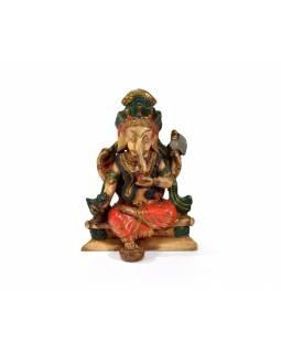 Ganesh sedící, vícebarevný, podstavec, pryskyřice, 11cm