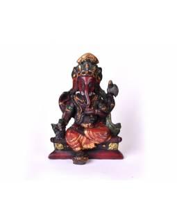 Ganesh sedící, červený, ručně barvený, 11cm
