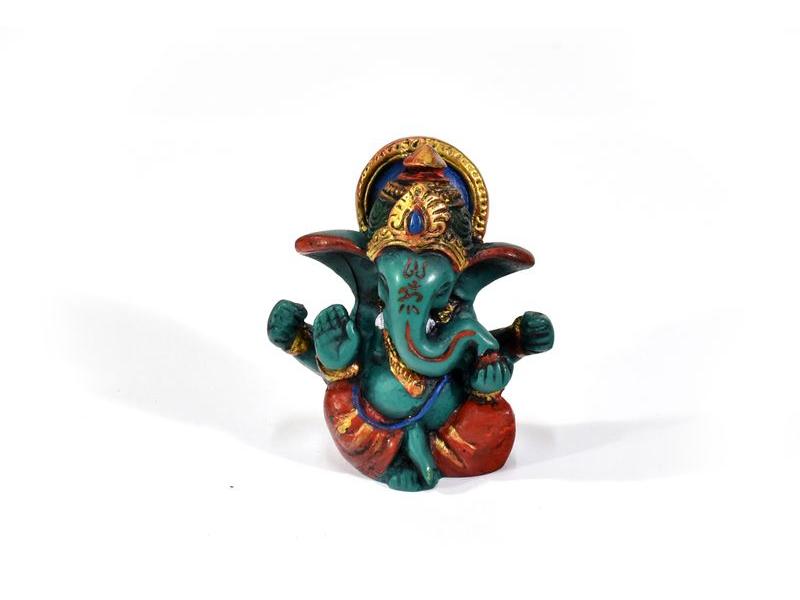 Ganesh, tyrkysový, ručně malovaný, pryskyřice, 6cm