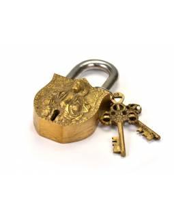 Visací zámek, Buddha, mosaz , dva klíče, 10,5x6cm, klíč 7cm