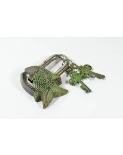 Visací zámek, ryba, mosaz, zelená patina, 9,5x8cm