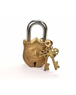 Visací zámek, slunce, mosaz antik, dva klíče, 10,5x6, klíč 7cm