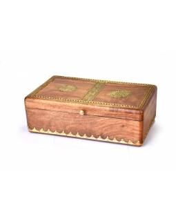 Dřevěná ozdobná krabička (šperkovnice), mosazné kování, 6 přihrádek, 36x20x10cm