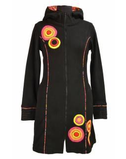 Kabátek s kapucí, černý, růžové kruhové aplikace, Bubbles tisk, zip, kapsy
