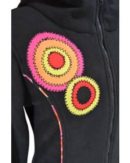 Fleecový kabátek s kapucí, černý, růžové kruhové aplikace, Bubbles tisk, zip, ka
