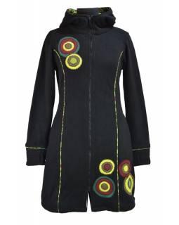 Kabátek s kapucí, černý, khaki kruhové aplikace, Bubbles tisk, zapínání na zip,