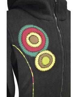 Fleecový kabátek s kapucí, černý, khaki kruhové aplikace, Bubbles tisk, zapínání