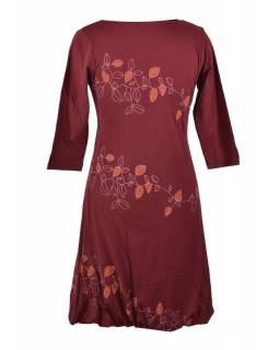 Krátké vínové šaty s potiskem leaves, tříčtvrteční rukáv, V výstřih