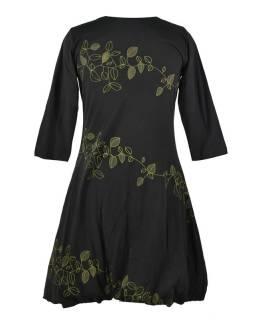 Krátké černé šaty s potiskem leaves, tříčtvrteční rukáv, V výstřih