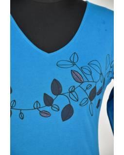 Krátké tyrkysové šaty s potiskem leaves, tříčtvrteční rukáv, V výstřih