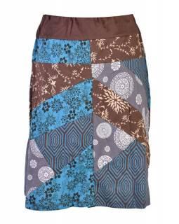 Šedá patchworková sukně ke kolenům, mix tisků a Chakra aplikace