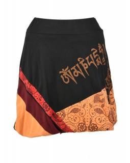 Krátká balonová sukně s potiskem, černo-oranžová, elastický pas