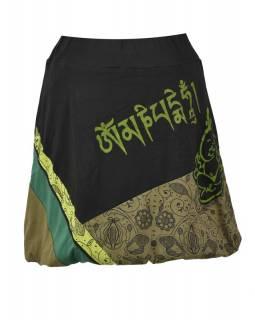 Krátká balonová sukně s potiskem, černo-zelená, elastický pas