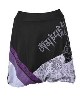 Krátká balonová sukně s potiskem, černo-fialová, elastický pas