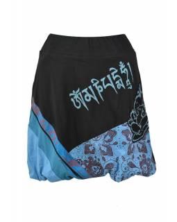 Krátká balonová sukně s potiskem, černo-modrá, elastický pas