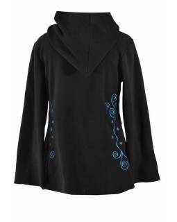 Černý asymetrický kabátek s kapucí zapínaný na knoflík, tyrkysová výšivka