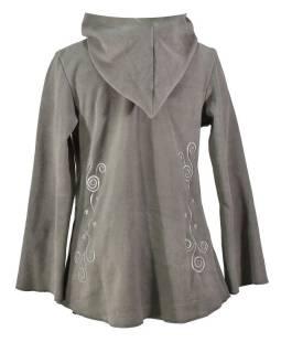 Šedý asymetrický kabátek s kapucí zapínaný na knoflík, šedá výšivka