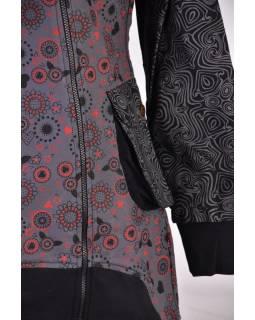 Šedý kabátek s kapucí a asymetrickými zipy, Mix tisk, kapsy