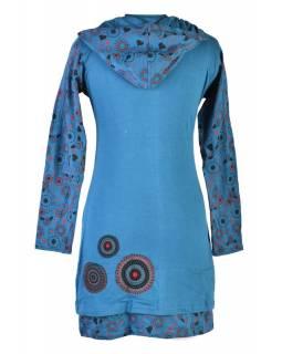 Petrolejové šaty s kapucí a dlouhým rukávem, Hamsa design, aplikace mandal