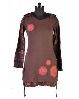 Hnědé šaty s kapucí a dlouhým rukávem, Hamsa design, aplikace mandal