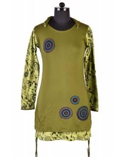 Khaki šaty s kapucí a dlouhým rukávem, Hamsa design, aplikace mandal
