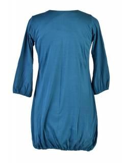 Petrolejové balonové mini šaty s tříčtvrtečním rukávem, potisk a výšivka