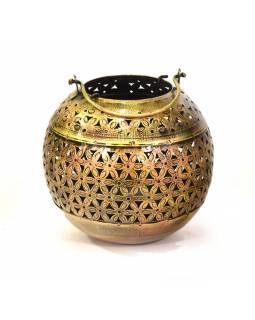 Závěsný svícen - koule, ručně vyřezávaný a tepaný, stříbrná patina, 15x16cm