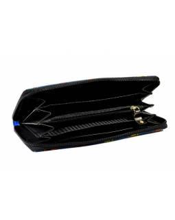 """Velká kožená peněženka """"Sitting cats"""", modrá, ručně malovaná, zip, 21x11cm"""