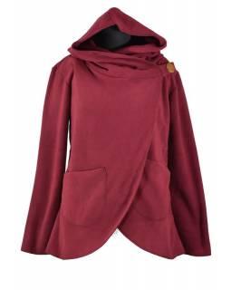 Vínový asymetrický kabátek s kapucí zapínaný na knoflík, vínová výšivka