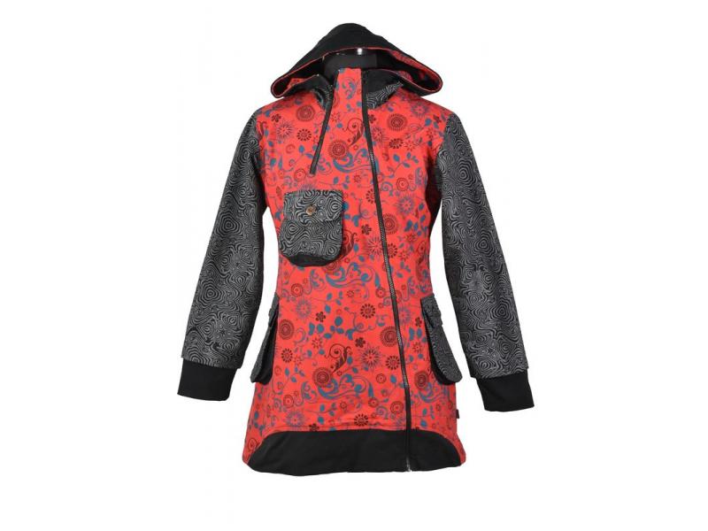 Červeno šedý kabátek s kapucí a asymetrickými zipy, Mix tisk, kapsy