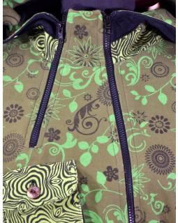 Khaki kabátek s kapucí a asymetrickými zipy, Mix tisk, kapsy