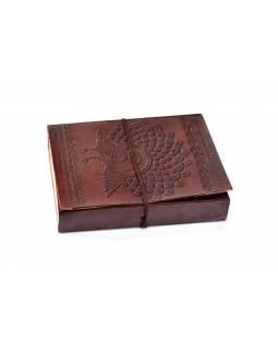 Notes v kožené vazbě, ruční papír, cca 11,5x15cm