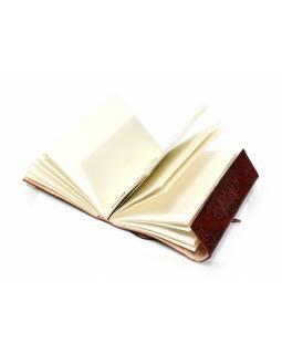Notes v kožené vazbě, ruční papír, cca 12,5x17,5cm