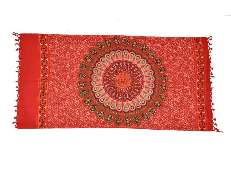 Červený bavlněný sárong s ručním tiskem, ornament, třásně, 110x170cm