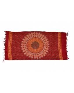 Červený bavlněný sárong s ručním tiskem, design páv, třásně, 110x170cm