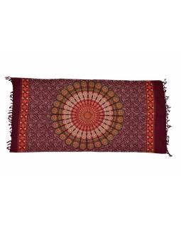 Švestkový bavlněný sárong s ručním tiskem, design páv, třásně, 110x170cm
