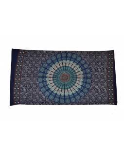 Tmavě modrý bavlněný sárong s ručním tiskem, floral design, 110x170cm