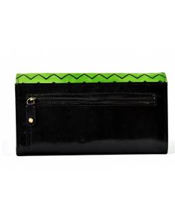"""Velká kožená peněženka """"Two owls"""", zeleno-černá, ručně malovaná, 20x11cm"""