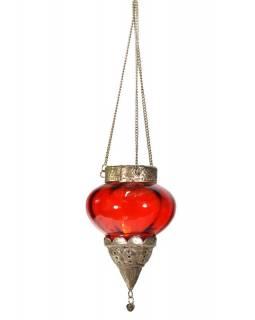 Závěsný skleněný svícen, červený, kovové zdobení, 12x14cm