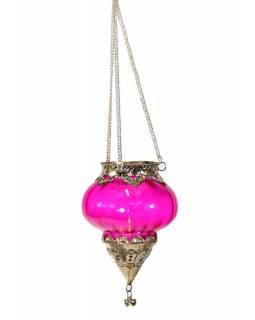 Závěsný skleněný svícen, růžový, kovové zdobení, 12x14cm