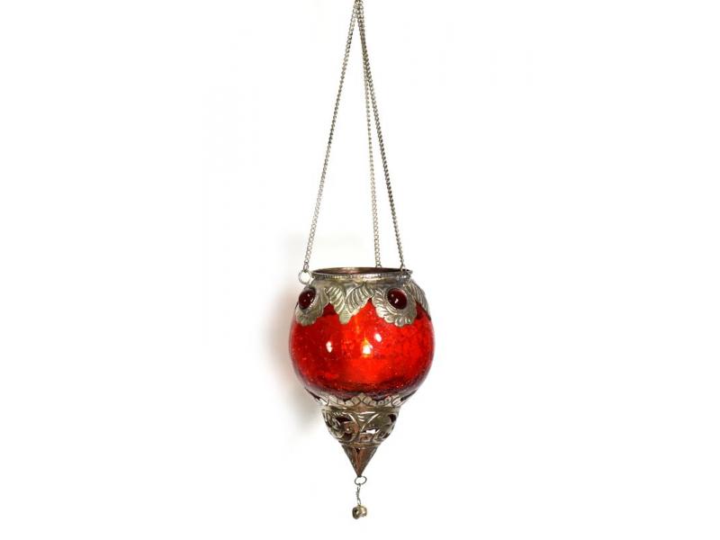 Závěsný skleněný svícen, červený, kovové zdobení, 12x9cm