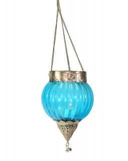 Závěsný skleněný svícen, modrý, kovové zdobení, 16x12cm