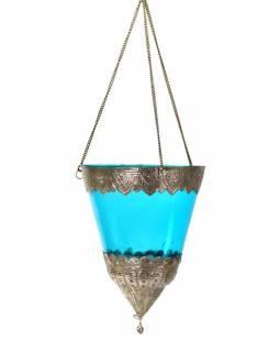 Závěsný skleněný svícen, modrý, kovové zdobení, 15x12cm