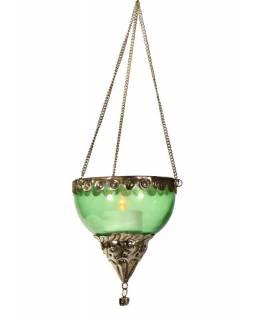 Závěsný skleněný svícen, zelený, kovové zdobení, 10x10cm
