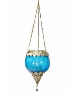 Závěsný skleněný svícen, modrý, kovové zdobení, 13x10cm