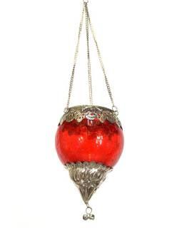 Závěsný skleněný svícen, červený, kovové zdobení, 10x10x13cm